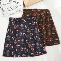 skirt Winter 2020 S,M,L,XL Coffee, dark blue Short skirt Versatile High waist A-line skirt Type A 18-24 years old 30% and below other other