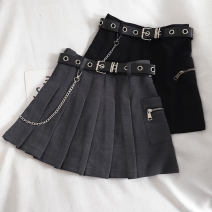 skirt Summer 2020 S,M,L,XL Short skirt High waist Pleated skirt Solid color Type A 18-24 years old