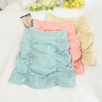 skirt Summer 2020 S,M,L,XL Green, black, bright yellow, dark yellow, orange Short skirt Versatile High waist A-line skirt Solid color Type A 18-24 years old 30% and below other