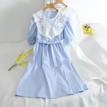 Dress Summer 2020 Black, white, blue Average size Short skirt singleton  Long sleeves Sweet Crew neck High waist Solid color Socket A-line skirt routine Others 18-24 years old Type A Splicing 30% and below Chiffon