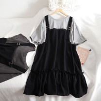 Dress Summer 2020 Light grey, dark grey Average size Middle-skirt Fake two pieces Short sleeve commute Crew neck Loose waist Socket Ruffle Skirt 18-24 years old Type H