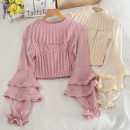 Wool knitwear Autumn 2020 Average size Pink, apricot, black, white Long sleeves singleton  Socket other 30% and below Regular routine commute Self cultivation pagoda sleeve Solid color Socket Korean version 18-24 years old Lotus leaf edge