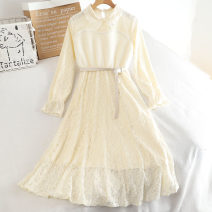 Dress Autumn 2020 Apricot, white Average size Mid length dress singleton  Long sleeves Polo collar High waist Solid color Socket A-line skirt other 18-24 years old Type A 30% and below