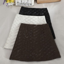 skirt Autumn 2020 S,M,L,XL Brown, black, white Short skirt commute High waist A-line skirt Solid color Type A 18-24 years old 30% and below other zipper Korean version