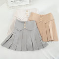 skirt Spring 2021 S,M,L,XL Black, grey, apricot, white Short skirt High waist Pleated skirt Solid color Type A 18-24 years old 30% and below
