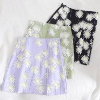 skirt Summer 2020 S,M,L Green, purple, black Short skirt Retro High waist A-line skirt Type A 18-24 years old