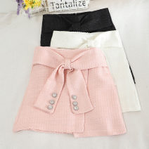 skirt Autumn 2020 S,M,L,XL Pink, black, white Short skirt Versatile High waist A-line skirt Solid color Type A 18-24 years old 30% and below