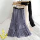 skirt Winter of 2019 Average size Black, pink, apricot, blue Middle-skirt Versatile High waist A-line skirt Solid color Type A 18-24 years old 30% and below other other