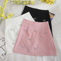 skirt Summer 2020 S,M,L,XL Black, white, pink Short skirt Retro High waist A-line skirt Solid color Type A 18-24 years old 30% and below other other