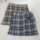 skirt Autumn 2020 S,M,L,XL Blue, black, brown Short skirt commute High waist A-line skirt lattice Type A 18-24 years old 30% and below other zipper