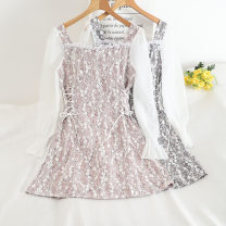 Dress Summer 2020 Pink, black, blue M, L Middle-skirt singleton  Long sleeves commute Doll Collar High waist Decor Socket other other Others 18-24 years old Type A 30% and below