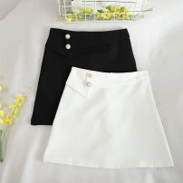 skirt Summer 2020 S,M,L,XL Black, white Short skirt Retro High waist A-line skirt Solid color Type A 18-24 years old 30% and below other other Button