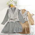 Dress Autumn 2020 Average size longuette Two piece set Long sleeves commute High waist lattice Socket A-line skirt routine 18-24 years old Type A Korean version 30% and below