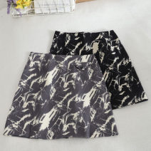 skirt Autumn 2020 S,M,L,XL Gray, black Short skirt commute Natural waist A-line skirt Decor Type A 18-24 years old 30% and below other printing