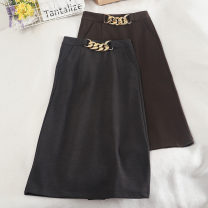 skirt Autumn 2020 S,M,L,XL Brown, dark grey, black longuette commute High waist skirt Solid color Type H 18-24 years old 30% and below Wool zipper Korean version