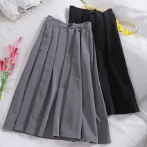 skirt Autumn of 2019 M, L longuette Retro High waist Pleated skirt Solid color Type A 18-24 years old