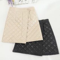 skirt Winter 2020 S,M,L,XL Apricot, black Short skirt Versatile High waist A-line skirt Solid color Type A 18-24 years old 30% and below