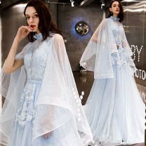 Dress / evening wear Wedding, adulthood, party, company annual meeting, performance, routine, appointment XXL,XXXL,XXS,XS,S,M,L,XL Sky blue, blue grace longuette middle-waisted Spring 2021 Fall to the ground Deep collar V Bandage Netting 18-25 years old Long sleeves Embroidery Dot Other / other other