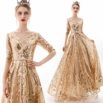Dress / evening wear Wedding, adulthood, party, company annual meeting, performance, routine, appointment XXL,XXXL,XXS,XS,S,M,L,XL Champagne gold fashion longuette middle-waisted Spring 2021 Self cultivation One shoulder Deep V style Mesh, poplin, Sequin 26-35 years old elbow sleeve Nail bead routine