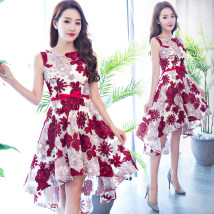 Dress / evening wear Weddings, adulthood parties, company annual meetings, daily appointments XXL XXL enlarge XXL XS S M L XL claret grace Middle-skirt middle-waisted Spring of 2018 Fluffy skirt One shoulder vest Netting 18-25 years old Short sleeve flower Big flower Other / other Wrap sleeves other