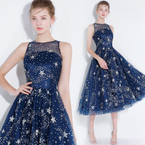 Dress / evening wear Wedding, adulthood, party, company annual meeting, performance, routine, appointment XXL,XXXL,XXS,XS,S,M,L,XL Navy Blue Sweet Medium length middle-waisted Spring 2021 Fluffy skirt One shoulder Hollowing out Netting 18-25 years old Short sleeve flower scenery Other / other other