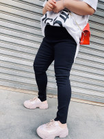 Women's large Summer 2020, spring 2020 Black, white, army green 32,34,36,38,40,42,44 trousers singleton  commute Self cultivation thin Solid color Korean version Hello, fat girl Asymmetry Ninth pants