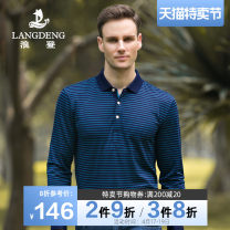T-shirt Business gentleman routine S M L XL XXL XXXL Langdeng Long sleeves Lapel standard daily spring Cotton 100% youth routine Business Casual other Spring of 2019 stripe cotton other other Domestic famous brands Pure e-commerce (online only) More than 95%