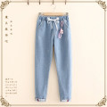 Jeans Autumn 2020 M,L,XL,2XL,3XL,4XL,5XL trousers High waist Straight pants routine Under 17 Cotton denim light colour 81% (inclusive) - 90% (inclusive)