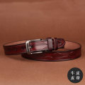 Belt / belt / chain Double skin leather White red blue black light brown coffee female belt Simplicity Single loop youth Pin buckle Round buckle 2.8cm