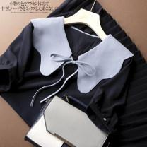 Dress Spring 2021 dark blue M, L Mid length dress singleton  Short sleeve commute Doll Collar Socket routine Korean version YX-21506AJE 51% (inclusive) - 70% (inclusive) other