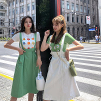 skirt Summer of 2019 S,M,L,XL White, Avocado Green Middle-skirt commute High waist A-line skirt Solid color Type A 25-29 years old BQ19B3156 51% (inclusive) - 70% (inclusive) Fawn wants to fly cotton Korean version