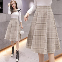 skirt Winter 2020 S M L XL 2XL khaki Mid length dress commute High waist Pleated skirt lattice Type A 25-29 years old More than 95% Memory format other Korean version PU Pure e-commerce (online only)