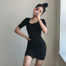 Dress Summer 2021 Gray, blue, black Average size Short skirt singleton  Short sleeve commute Crew neck High waist Solid color Socket A-line skirt routine Others 18-24 years old Type A Other / other Korean version 91% (inclusive) - 95% (inclusive) knitting