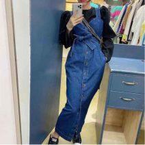 Dress Spring 2020 navy blue Average size Mid length dress singleton  Sleeveless commute V-neck High waist Solid color Socket straps 18-24 years old Type H Other / other Korean version Button Denim