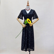 Dress Autumn 2020 black S, M longuette singleton  Short sleeve commute V-neck High waist Broken flowers zipper Big swing pagoda sleeve Others 18-24 years old Type A Korean version Zipper, stitching, folding, patching, bright silk, pleating, bowknot, lace, bandage, Sequin Chiffon polyester fiber