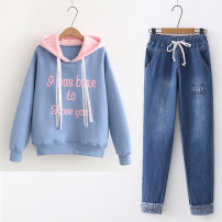 Sweater / sweater Autumn 2020 Average size, s [recommended 70-85 kg], m [recommended 85-95 kg], l [recommended 95-105 kg], XL [recommended 105-115 kg] Short sleeve routine Socket singleton  Thin money Hood easy Sweet routine letter Under 17 51% (inclusive) - 70% (inclusive) cotton Embroidery cotton