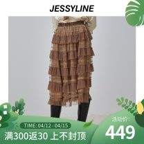 skirt Winter 2020 XS/155 S/160 M/165 L/170 Light coffee Mid length dress commute High waist Cake skirt Solid color Type A 25-29 years old More than 95% Jessy·Line polyester fiber Splicing Retro Polyester 100%
