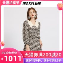 Dress Spring 2021 lattice XS/155 S/160 M/165 L/170 longuette singleton  Nine point sleeve street Doll Collar middle-waisted lattice Socket A-line skirt routine Others 25-29 years old Type A Jessy·Line Splicing 51% (inclusive) - 70% (inclusive) polyester fiber Polyester 64.7% viscose 35.3%