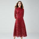 Dress Autumn 2020 gules L,XL,2XL,3XL,4XL,5XL Mid length dress singleton  three quarter sleeve street stand collar High waist routine Type A 14-14380 81% (inclusive) - 90% (inclusive) nylon Europe and America