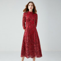 Dress Autumn 2020 gules L,XL,2XL,3XL,4XL,5XL Mid length dress singleton  three quarter sleeve street stand collar High waist routine Type A 14-14380 81% (inclusive) - 90% (inclusive) nylon Europe and America