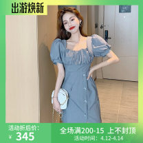 Dress Summer 2021 Gray, black S, M Short skirt singleton  Short sleeve commute square neck High waist Solid color Socket puff sleeve 18-24 years old Type A Korean version