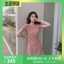 Dress Summer 2021 Red [original Seoul cat], green [original Seoul cat] S,M,L,XL Middle-skirt singleton  Short sleeve commute Crew neck High waist Broken flowers zipper Ruffle Skirt routine Others Type A Other / other Korean version printing WN0002058 81% (inclusive) - 90% (inclusive) other
