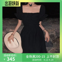 Dress Summer 2020 Picture color Average size longuette singleton  Short sleeve commute square neck High waist A-line skirt puff sleeve 18-24 years old Type A Other / other lady Pleated, agaric cotton