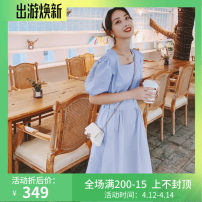 Dress Summer 2021 White, blue, purple, pink S,M,L,XL longuette other Short sleeve Sweet square neck High waist Solid color Socket Pleated skirt puff sleeve Others Type A Other / other brocade