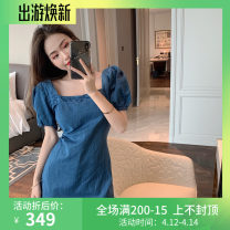 Dress Summer 2021 Picture color S, M Short skirt singleton  Short sleeve commute square neck High waist Solid color Socket A-line skirt puff sleeve 18-24 years old Type A Other / other Korean version Denim cotton