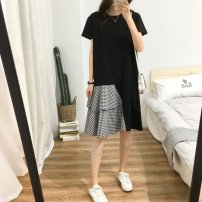 Women's large Summer 2021 P27-a-black M. Large L, large XL Dress singleton  commute easy moderate Socket Short sleeve Korean version Crew neck Medium length cotton Collage routine Other / other 25-29 years old 31% (inclusive) - 50% (inclusive) Medium length other