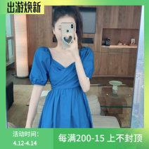 Dress Summer 2020 Purple, blue Miniskirt singleton  Short sleeve commute V-neck High waist Socket A-line skirt puff sleeve 18-24 years old Type A Korean version