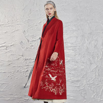 woolen coat Winter of 2019 S M L wool 51% (inclusive) - 70% (inclusive) have more cash than can be accounted for Long sleeves commute Frenulum routine stand collar Plants and flowers Straight cylinder ethnic style Jn / JW / in and out of bounds 25-29 years old Solid color polyester fiber
