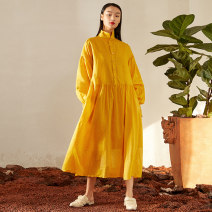 Dress Spring 2021 Ivory Beijiang yellow black Average size longuette singleton  Long sleeves commute stand collar Loose waist Solid color Single breasted A-line skirt bishop sleeve 25-29 years old Type H Jn / JW / in and out of bounds Simplicity J11Q040 More than 95% hemp Ramie 100%