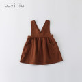 Dress Brown, rust red female Other / other 5 / 80 (recommended height 80), 7 / 90 (recommended height 90), 9 / 100 (recommended height 100), 11 / 110 (recommended height 110), 13 / 120 (recommended height 120) Cotton 95% other 5% spring and autumn Korean version Strapless skirt Solid color cotton